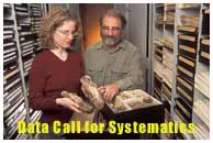 Data Call for Systematics. Image: Erin McCray, collections manager, and David Farr, mycologist for ARS, examine a fusiform rust